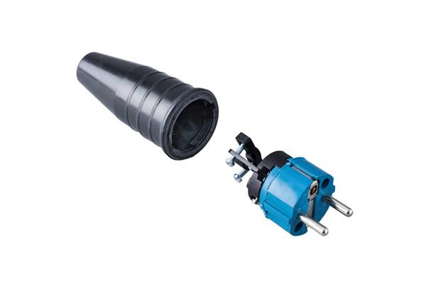 Volrubber contactstop 16A, 250V in de kleur contact blok blauw-greep zwart