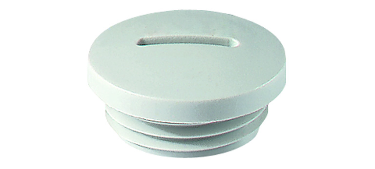 Polyamide PA6 GF30 Jacob blindstoppen <br />Schroefdraad  PG7<br />Materiaal Polyamide 6                                                                                                                   kleur  lichtgrijs RAL 7035 light grey