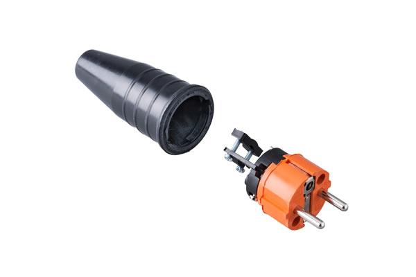 Volrubber contactstop 16A, 250V in de kleur contact blok oranje-greep zwart