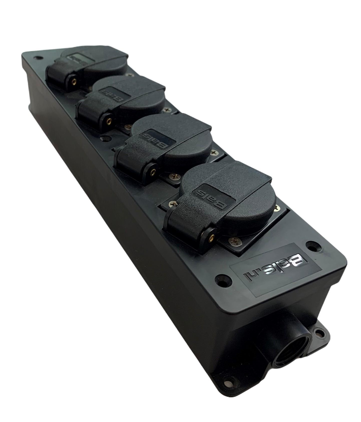 Bals-Prd.-NrBT700011                                                                                                                                     Verdeelslof 16A Bals 14 Zwart 4-voudig sockets.                                                                                         Solid-Rubber. (system F-German earting system )                                                                                                    Inclusief Wartel en bijbehorende schroeven                                                                                            Lengte  310mm-Breed-72mm-Hoog 50mm
