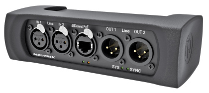 DANTA Interface connect analog audio equipment to a DANTE TM network   NA2-IO-DLINE