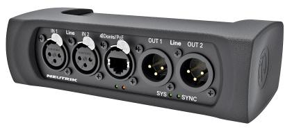 DANTA Interface connect analog audio equipment to a DANTE TM network   NA2-IO-DLINE