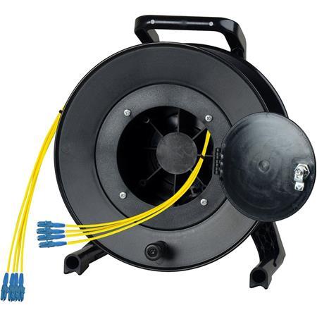 Glasvezel OCC Broadcast . Breakout  Fiber Multimode kabel . Connectoren  4 LC - 4 LC op Schill Haspel
