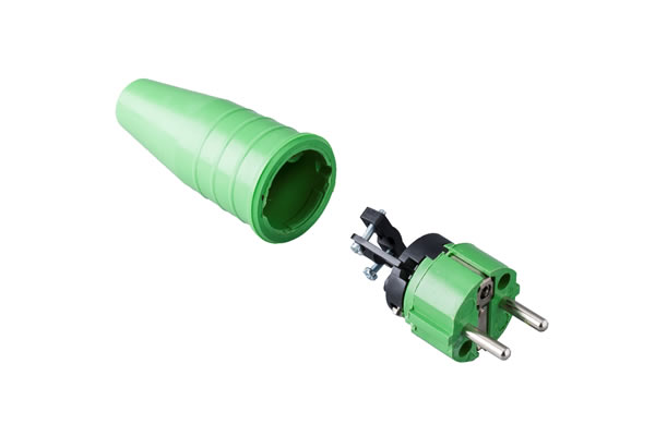 Solid rubbercontact stop plug 16A, 250V in the coulor green/green .