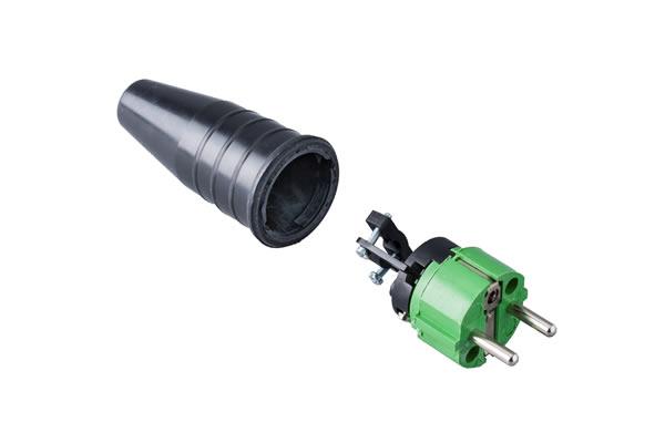 Volrubber contactstop 16A, 250V in de kleur contact blok groen-greep zwart