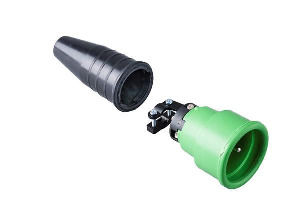 Volrubber koppelcontactstop 16A, 250V in de kleur contact blok groen-greep zwart