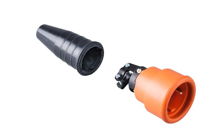 Volrubber koppelcontactstop 16A, 250V in de kleur contact blok oranje-greep zwart