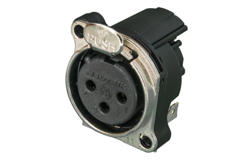 Audio XLR Chassis connector NC3FBHL2-E with flange.