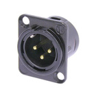 Audio XLR Chassis connector NC3MD-L-1 with metal housing.