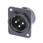 Audio XLR Chassis connector NC3MDM3-L-B-1 with metal housing.