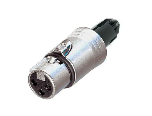 Audio XLR-kabelconnectoren NC5FXX-BAG-WOB Bulk doos 100st<br />5-polige kabelconnector vrouwelijk met zwarte behuizing en zilveren contacten, zonder afdicht dop