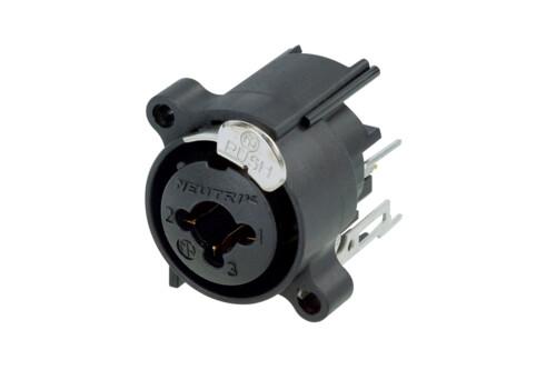 "NCJ6FA-V-DA<br />3 pole XLR female receptacle with 1/4"" stereo jack, vertical PCB mount, asymmetric push."