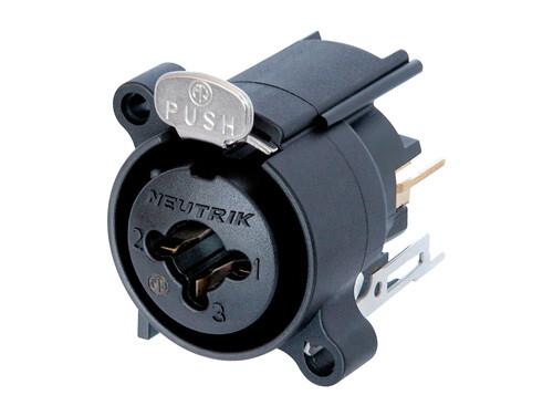 "NCJ6FA-V<br />3 pole XLR female receptacle with 1/4"" stereo jack, vertical PCB mount"