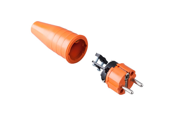 Solid rubbercontact stop plug 16A, 250V in the coulor orange/orange .