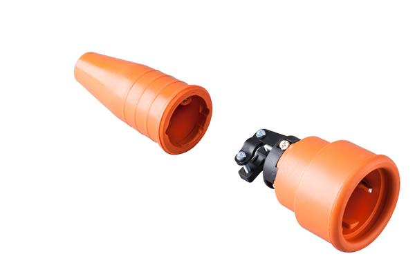 Volrubber koppelcontactstop 16A, 250V in de kleur contact blok oranje-greep oranje