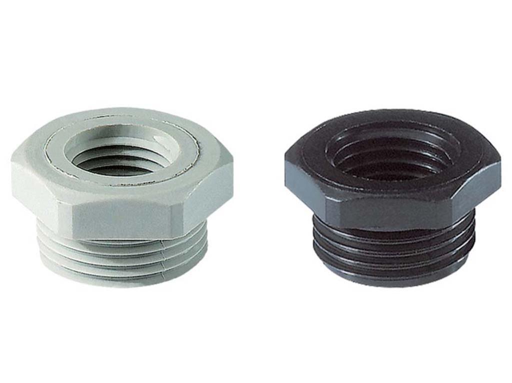 Polyamide PA6 GF30 Jacob reduceerringen naar metrisch<br />Schroefdraad  M16 x 1,5 - M12 x 1,5<br />Materiaal Polyamide 6                                                                                                                   kleur  zwart RAL 9005 black