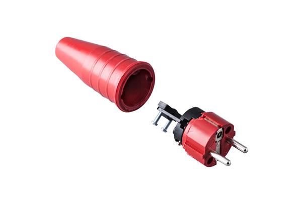 Volrubber contactstop 16A, 250V in de kleur rood-rood.