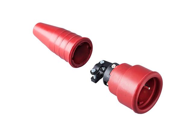 Volrubber koppelcontactstop 16A, 250V in de kleur contact blok rood-greep rood