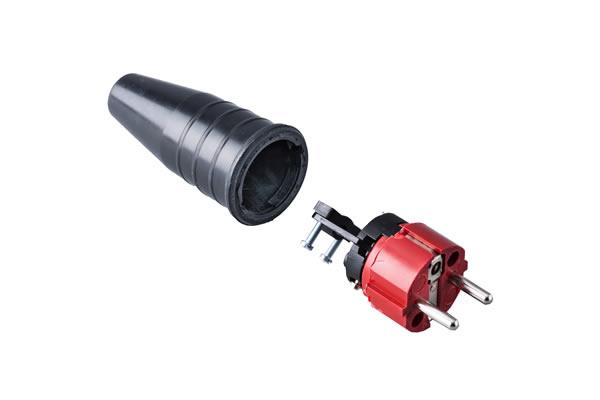Volrubber contactstop 16A, 250V in de kleur contact blok rood-greep zwart