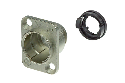 neutriCON Modular System RP8-NI<br />Chassis connector housing for female and male inserts, nickel coated, 180° coding