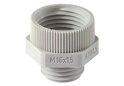 Polyamide PA6 GF30 Jacob verloopringen, metrisch<br />Schroefdraad  M12 x 1,5 - M16 x 1,5<br />Materiaal Polyamide 6                                                                                                                   kleur  lichtgrijs RAL 7035 light grey