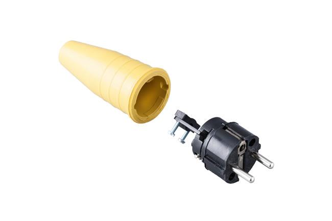 Volrubber contactstop 16A, 250V in de kleur contact blok zwart-greep geel