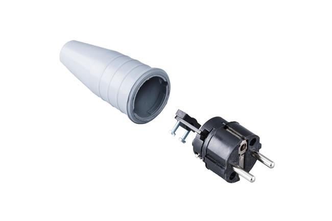 Volrubber contactstop 16A, 250V in de kleur contact blok zwart-greep grijs