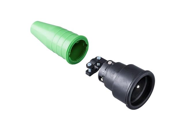 Volrubber koppelcontactstop 16A, 250V in de kleur contact blok zwart-greep groen