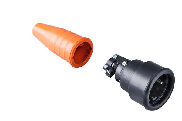 Volrubber koppelcontactstop 16A, 250V in de kleur contact blok zwart-greep oranje