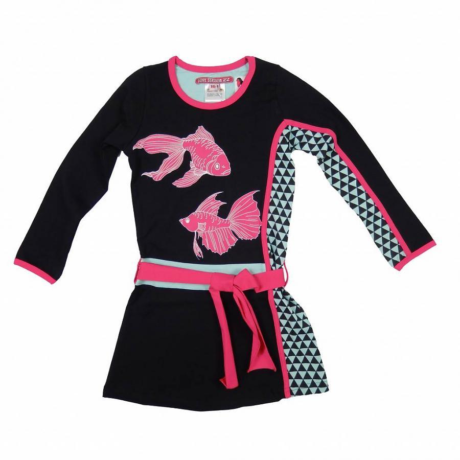 LoveStation22 Jurk Ronja black pink (vissen)