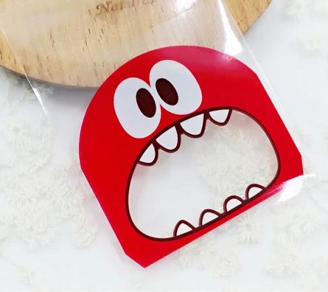 Plastic verpakkingszakje monster rood