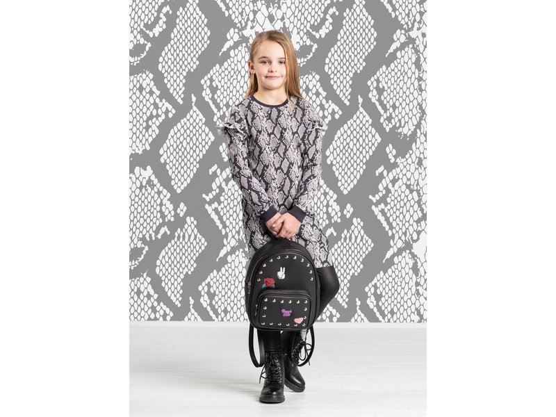 Quapi jurk Tade dark grey slangenprint
