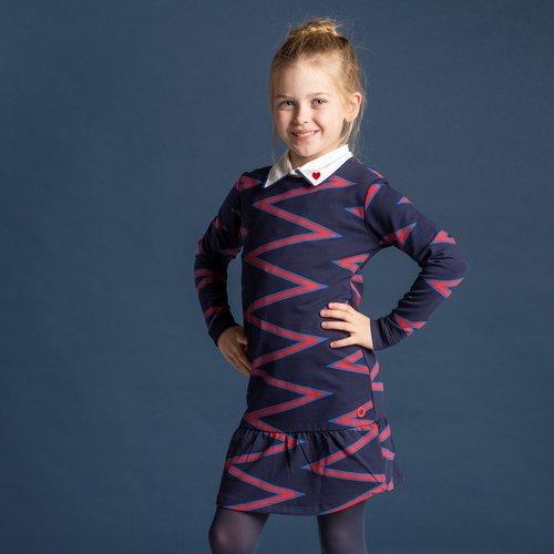 Quapi jurk Taila navy zigzag stripe