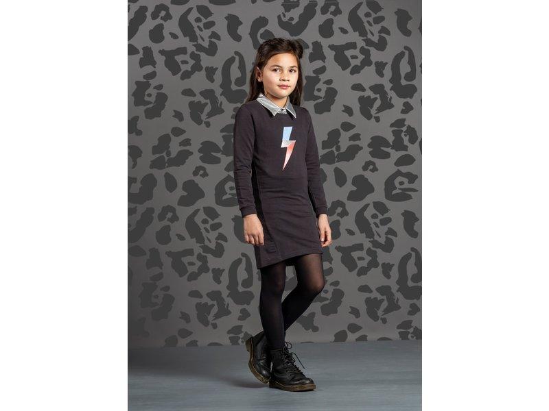 Quapi jurk Taleah dark grey bliksemschicht