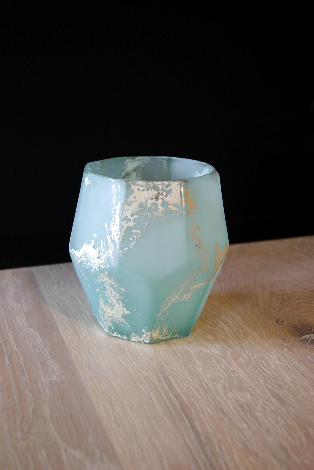 Waxinelicht diamant blauw L