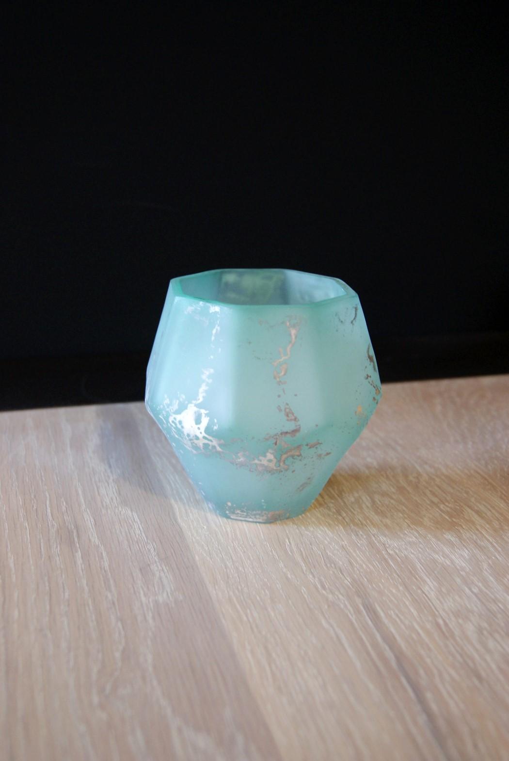 Waxinelicht diamant blauw M