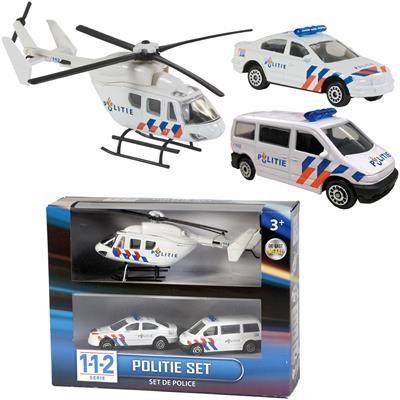 Politieauto- bus-helikopter speelset