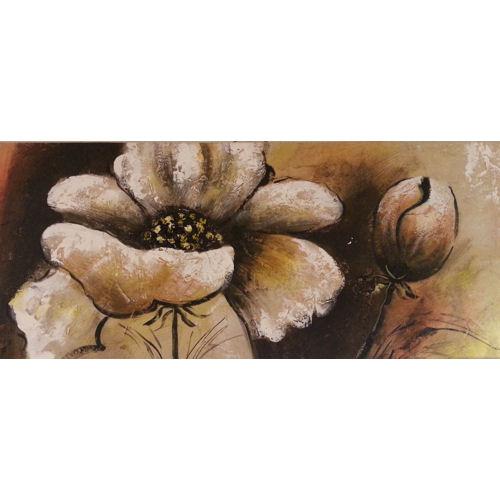 Schilderij Bloemen sepia<br /><br />Uitverkoop