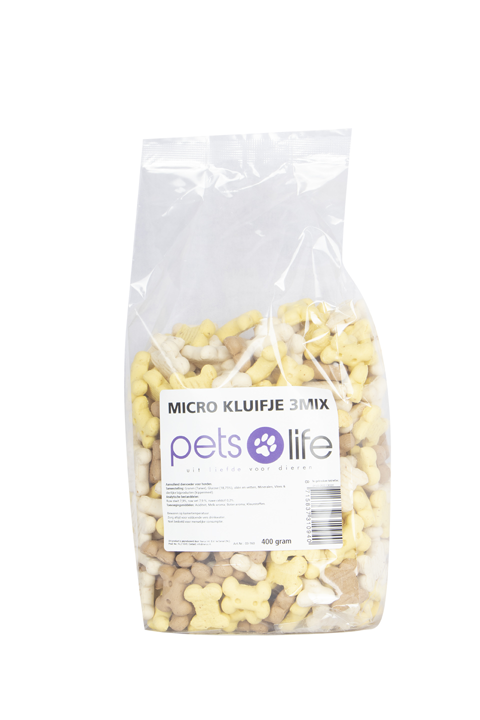 PETS LIFE MICRO-KLUIFJE 3 MIX VANILLE 400 GR.