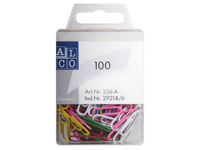 ALCO PAPERCLIPS 26MM ROND ASSORTI A 100 STUKS BLISTER