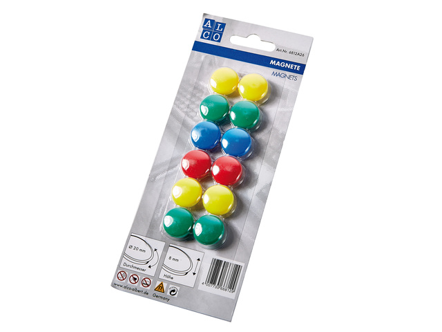 ALCO MAGNEET 20MM ROND BLISTER A 12 ASSORTI