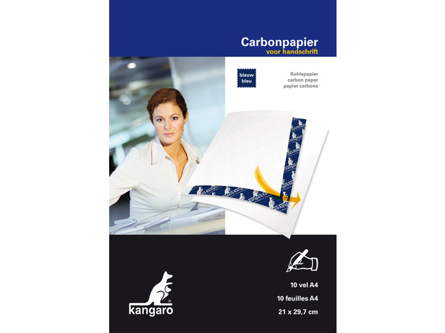KANGARO CARBONPAPIER A4 21X31Cm 10 VEL BLAUW