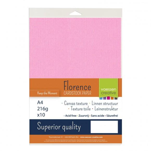 Vaessen creative Florence Cardstock texture A4 10 stuks Pink