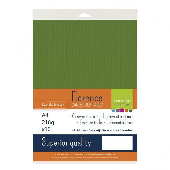 Vaessen creative Florence Cardstock texture A4 10 stuks Olive