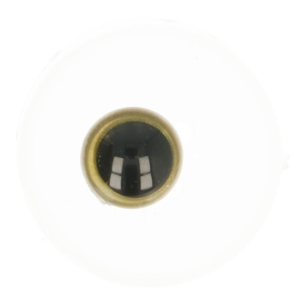 Dierenogen zwart en helder goud 8mm per stuk