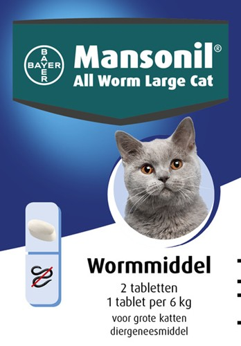 BAYER MANSONIL ALL WORM CAT LRG ELLIPS 2 TABL