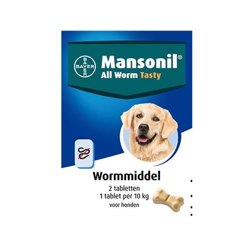 MANSONIL ALL WORM DOG TASTY BONE 2 TABL