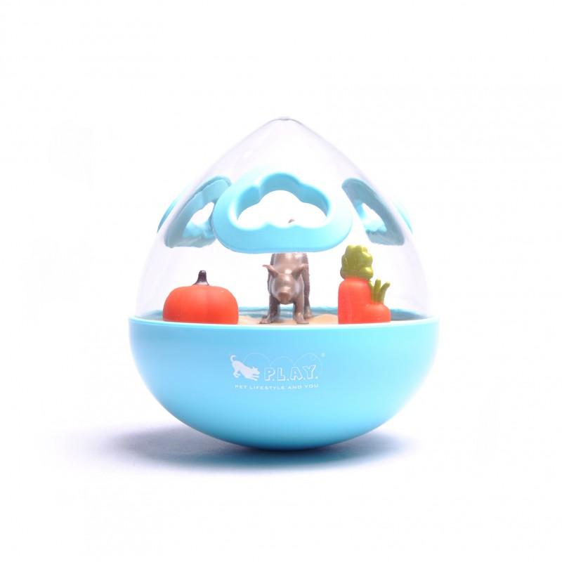 P.L.A.Y. Wobble Ball Enrichment Treat Toy - Blue