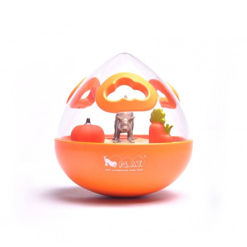 P.L.A.Y. Wobble Ball Enrichment Treat Toy - Orange