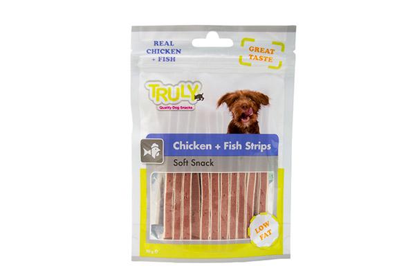 TRULY DOG CHICKEN&FISH STRIPS 90 GR